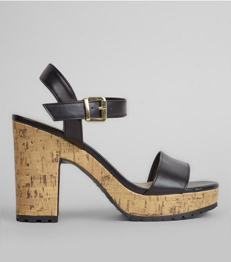 Black Cork Heel Cleated Sole Sandals | New Look
