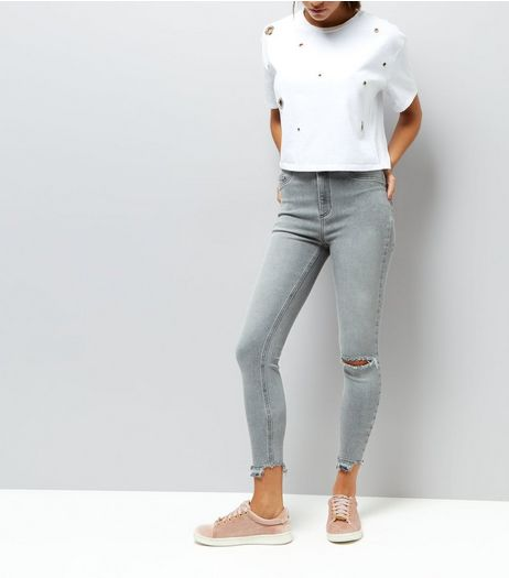 Grey High Waist Ripped Knee Skinny Hallie Jeans | New Look