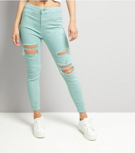 Mint Green High Waist Ripped Knee Skinny Hallie Jeans | New Look