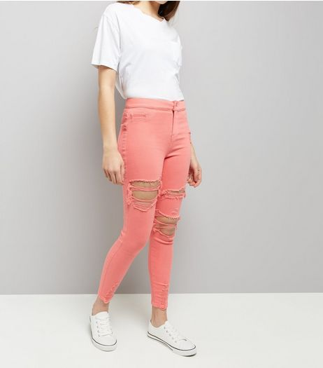 Coral Ripped Skinny Hallie Jeans  | New Look