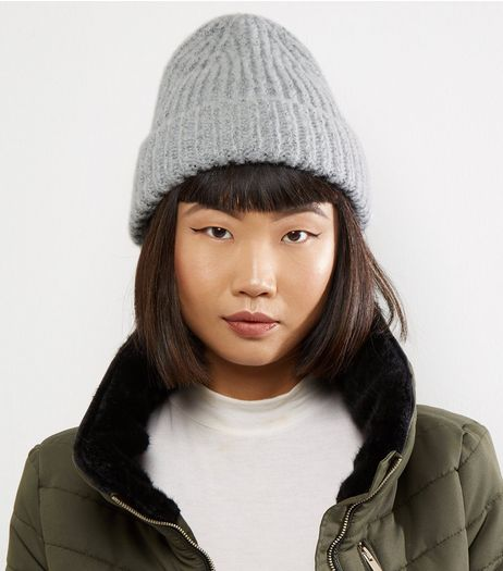 Dark Grey Brushed Ribbed Beanie Hat | New Look