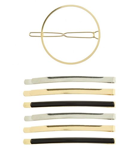 7 Pack Gold Circle and Straight Hair Clips | New Look