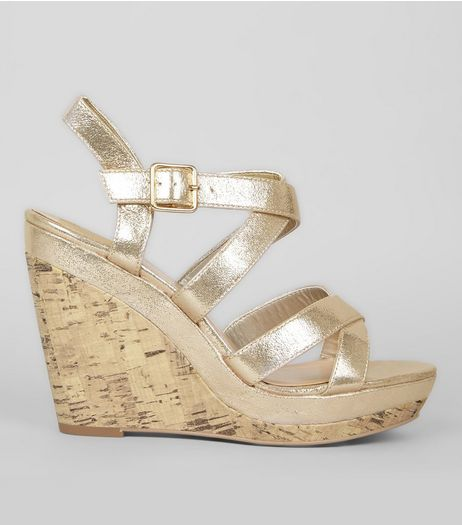 Gold Multi Strap Cork Wedge Heels | New Look
