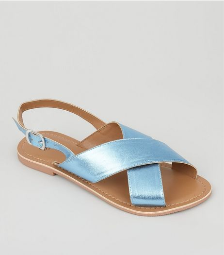 Teens Blue Metallic Leather Cross Strap Sandals | New Look
