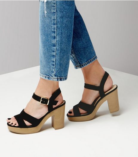 Black Suedette Double Strap Contrast Heels | New Look