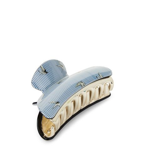 Blue Bird and Stripe Print Large Bulldog Clip | New Look