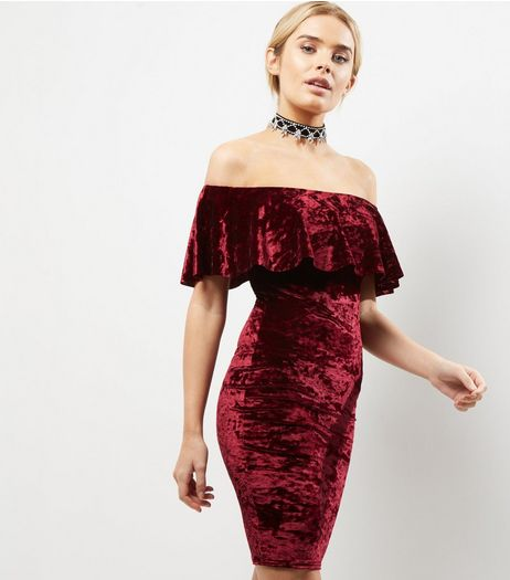 Blue Vanilla Burgundy Velvet Bardot Neck Bodycon Dress | New Look