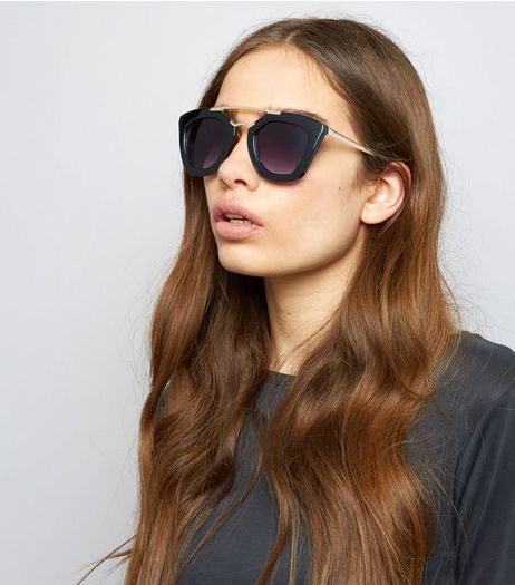 Black Double Frame Sunglasses | New Look