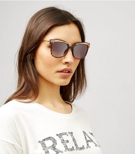 Brown Tortoiseshell Metal Bar Top Sunglasses | New Look