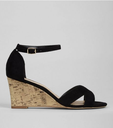 Black Suedette Cork Wedge Heels | New Look