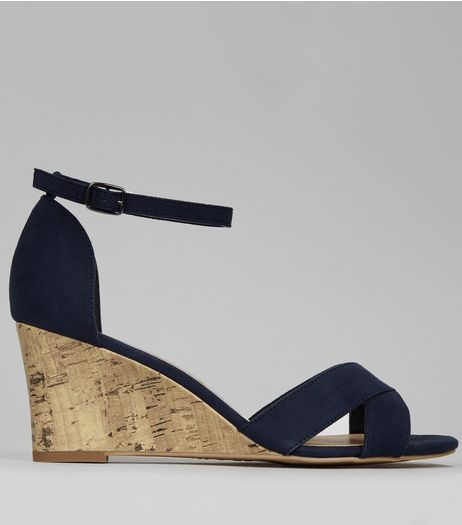 Navy Suedette Cross Strap Front Cork Wedges | New Look