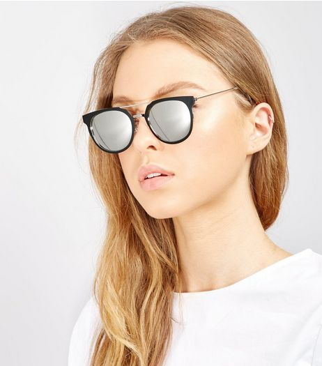 Black Double Bar Mirror Lens Sunglasses | New Look