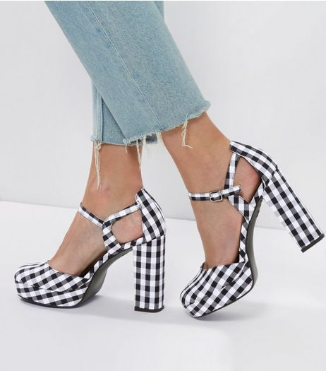 Black Gingham Platform Heels | New Look