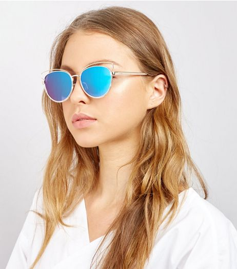 Gold Mirror Lens Cat Eye Sunglasses | New Look