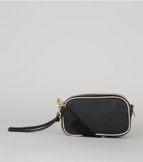 Black Metallic Trim Camera Bag | New Look