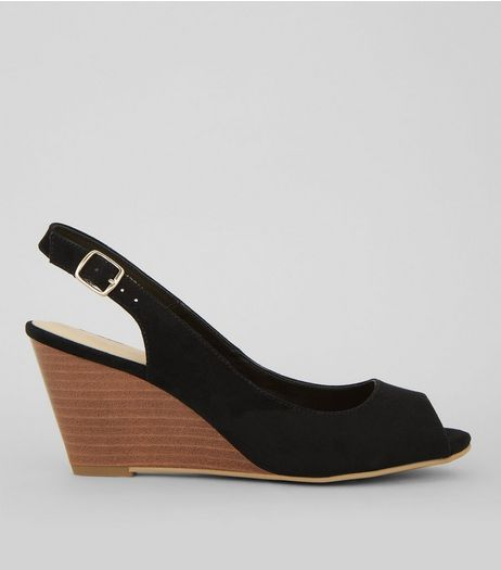Black Comfort Suedette Slingback Wedges | New Look