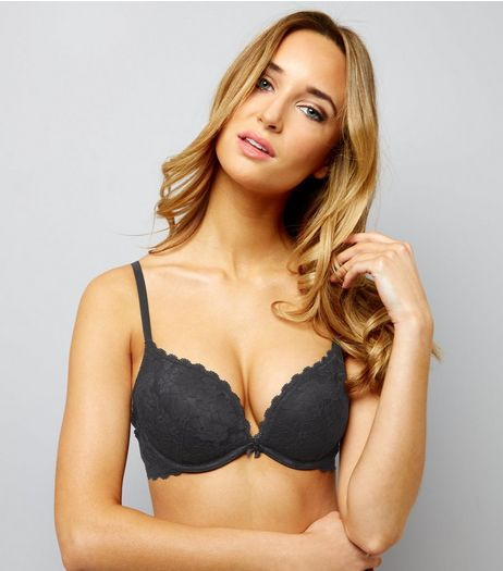 Black Scallop Trim Lace Push Up Bra | New Look
