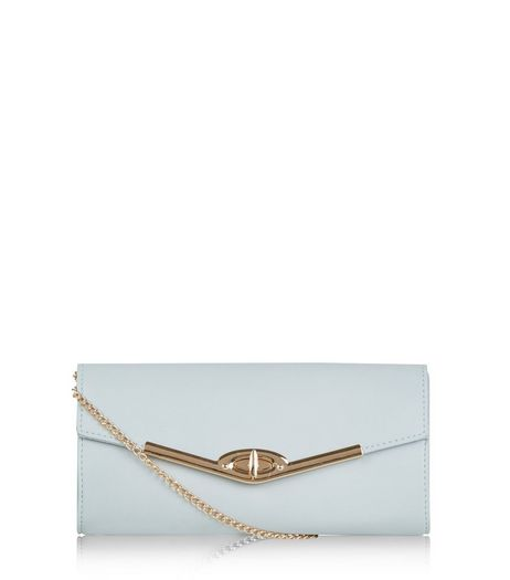 Blue Metal Trim Structured Clutch | New Look