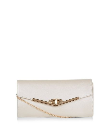 Gold Metal Trim Structured Clutch | New Look
