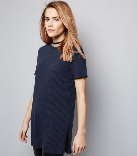 Navy Ribbed Short Sleeve Longline T-Shirt  | New Look