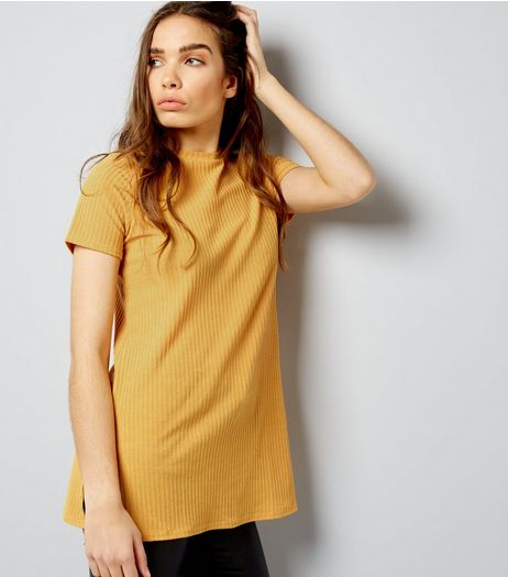 Yellow Ribbed Short Sleeve Longline T-Shirt  | New Look