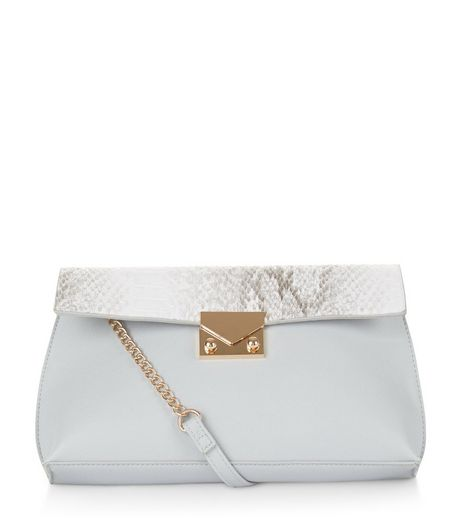 Pale Blue Snakeskin Texture Panel Shoulder Bag | New Look