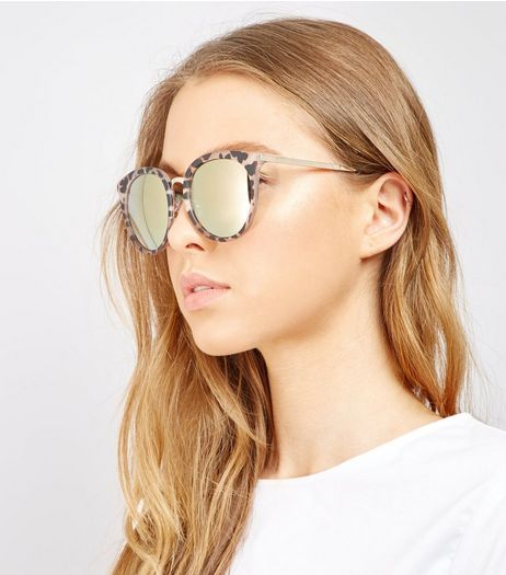 Brown Animal Print Mirrored Lens Sunglasses | New Look