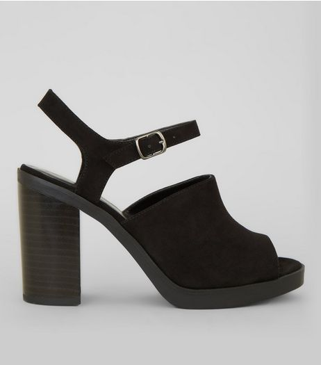 Black Suedette Peep Toe Chunky Heels | New Look