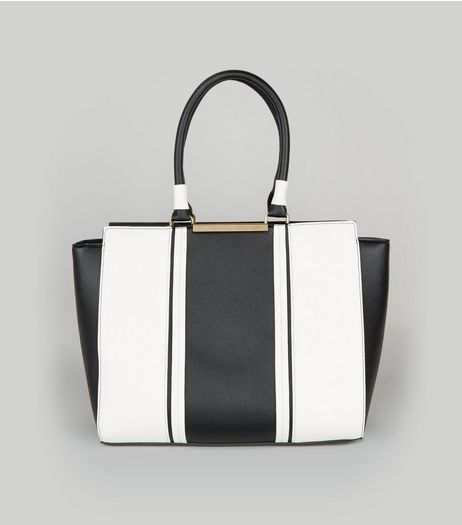 Black Contrast Panel Tote Bag | New Look
