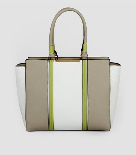 White Contrast Panel Tote Bag  | New Look