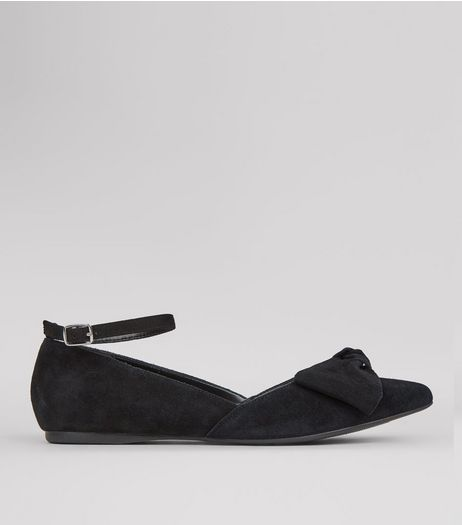 Wide Fit Black Suede Bow Front Ankle Strap Pumps | New Look
