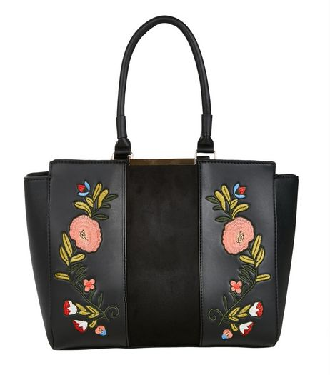 Black Floral Embroidered Tote Bag | New Look
