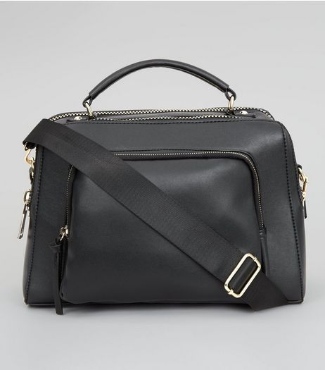 Black Chunky Zip Luggage Bag | New Look
