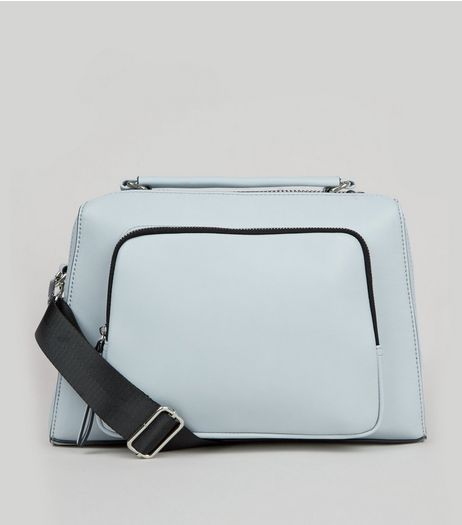 Pale Blue Chunky Zip Trim Shoulder Bag  | New Look