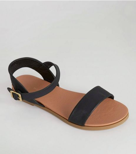 Wide Fit Black Ankle Strap Sandals | New Look