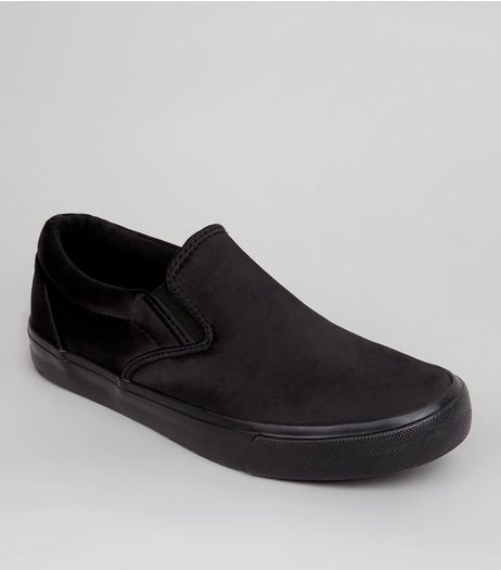 Black Satin Plimsolls | New Look