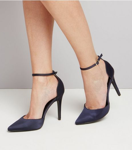Navy Satin Pointed Heels | New Look