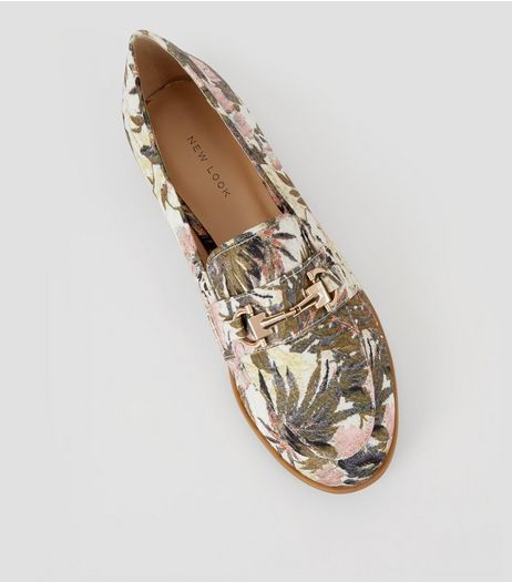 Cream Banana Leaf Jacquard Loafers | New Look