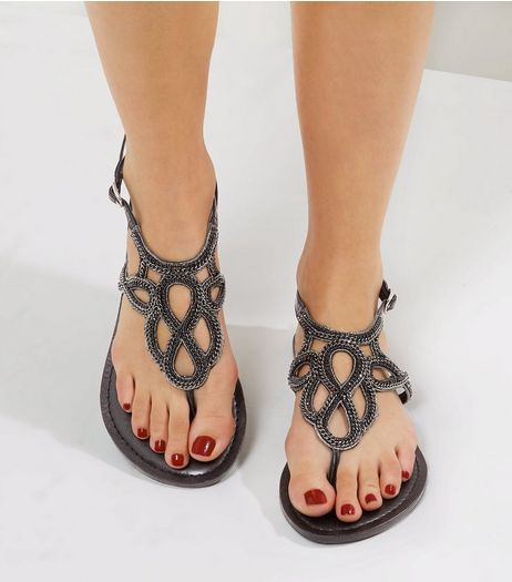 Wide Fit Black Leather Chain Embellished Sandals  | New Look