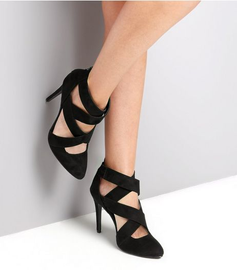 Wide Fit Black Cross Strap Zip Back Heels | New Look
