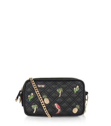 Black Quilted Tropical Pin Camera Bag | New Look