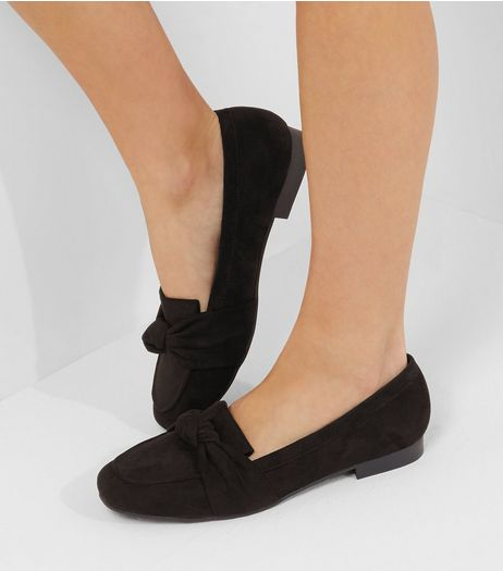 Wide Fit Black Suedette Knot Front Loafers | New Look