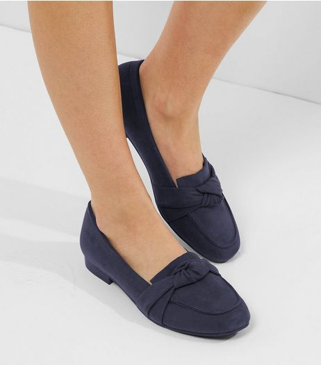 Wide Fit Navy Suedette Knot Front Loafers | New Look