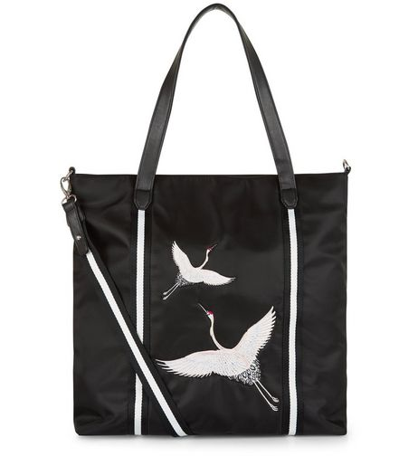 Teens Black Embroidered Bird Tote Bag | New Look