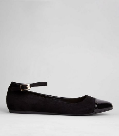 Wide Fit Black Patent Toe Cap Ankle Strap Pumps | New Look