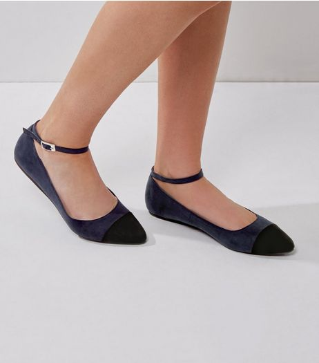 Wide Fit Navy Suedette Pointed Ankle Strap Pumps | New Look