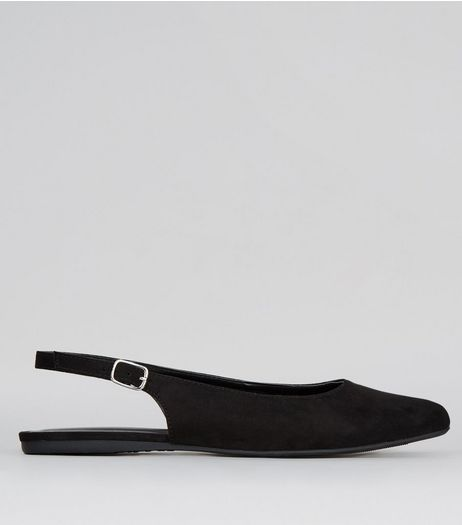 Wide Fit Black Suedette Sling Back Ballet Pumps | New Look
