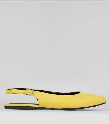 Wide Fit Yellow Suedette Sling Back Ballet Pumps | New Look