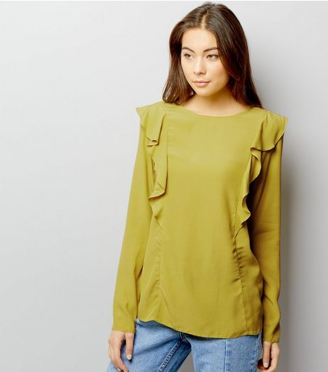 Lime Green Frill Trim Long Sleeve Top | New Look