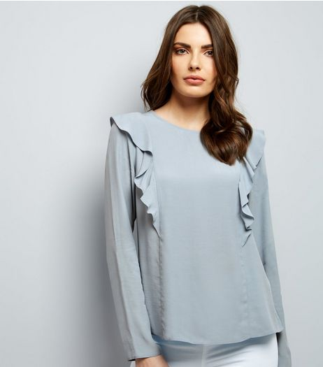 Pale Blue Frill Trim Long Sleeve Top  | New Look